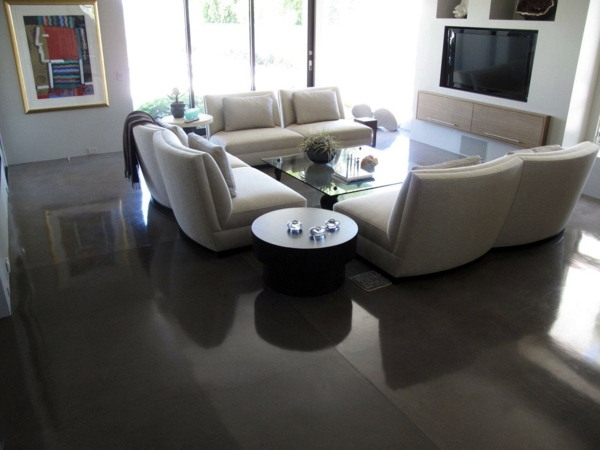 Concrete floor the main advantages and some practical for Practical flooring ideas