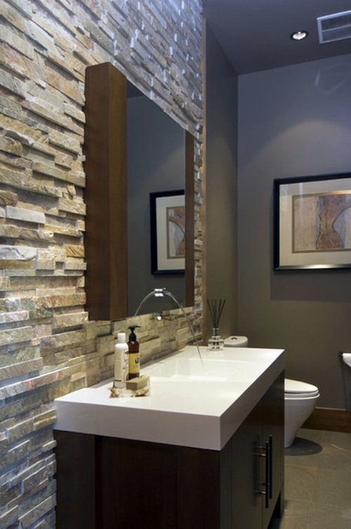 Natural stone tiles for your bathroom interior design for Bathroom designs natural