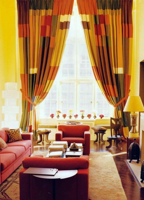 Curtains Decorated Like An Eye The Fabulous Living Room Designs Of Muriel Brandolini