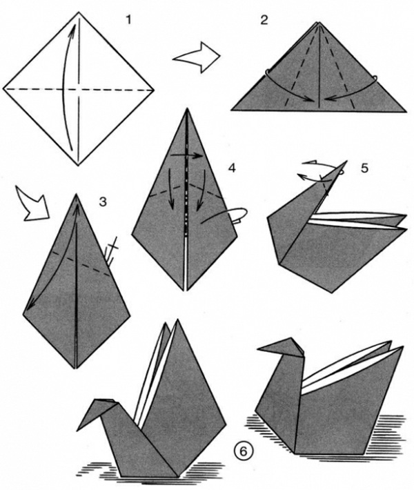 Paper napkin folding instructions create festive for Origami swan easy step by step