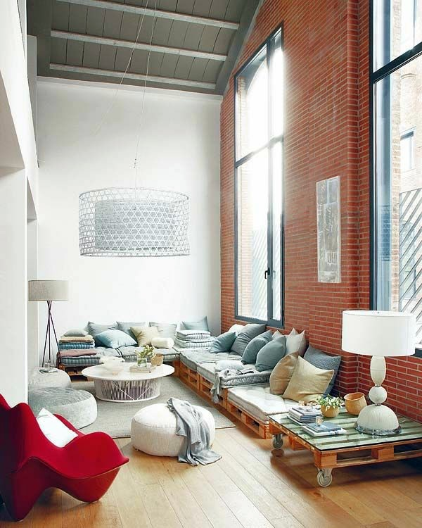 Urban apartment with high ceilings 60 DIY Furniture from Euro pallets -  amazing craft ideas for you