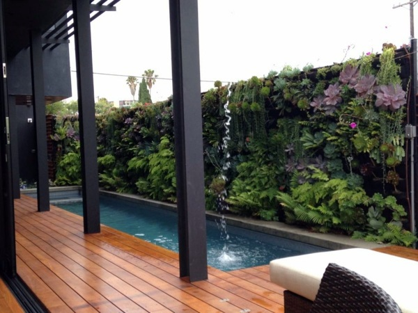Minimalist home rules - Vertical Garden Next To The Swimming Pool Brings More