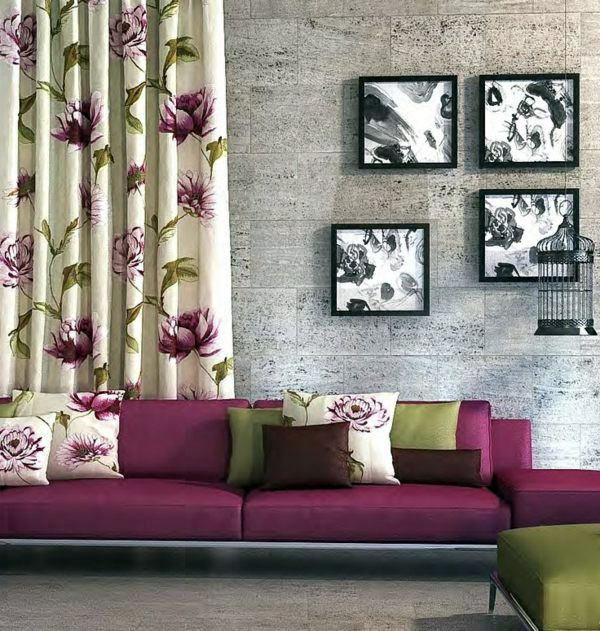 Fabric and wallpaper with floral design great interior for Wallpaper home fabrics