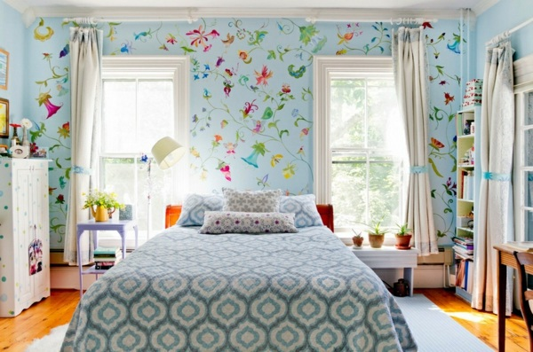 Fabric And Wallpaper With Floral Design Great Interior