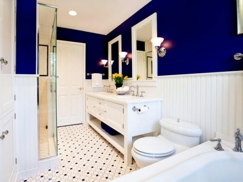 Outfit White And Dark Blue Walls   Bathroom Design 21 Colorful Bathroom  Designs   Stylish Ideas