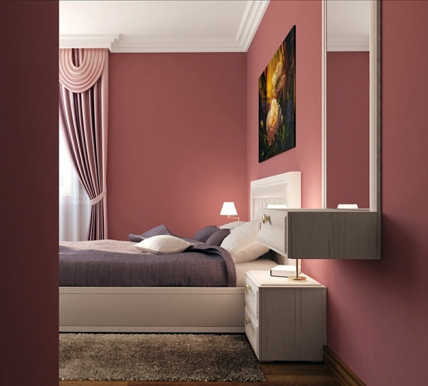 Altrosa as wall color fresh color design interior - Painting bedroom walls different colors ...