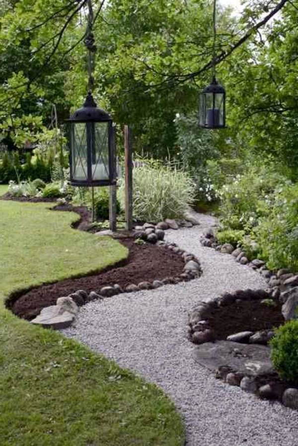 Hanging Garden Lanterns Landscaping With Gravel And Stones   25 Garden Ideas  For You