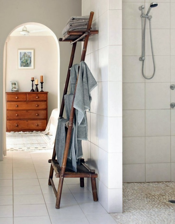Wooden towel ladder in both rustic as well as in modern bathroom. Wooden towel ladder in both rustic as well as in modern bathroom