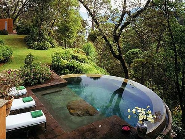Swimming pool in the garden landscape ideas for swimming for Pool and garden house plans