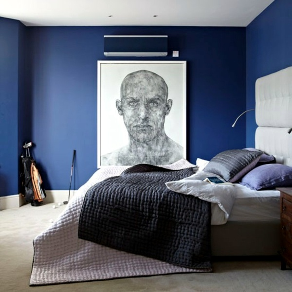 Royal Blue   Graphic Wall Type Bedroom Completely Customize   110 Bedrooms  Ideas Part 41