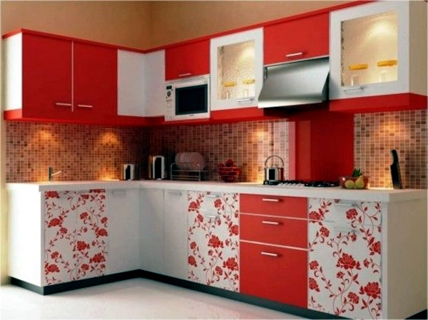 Red Outfit   Floral Design Wall Tiles For Kitchen   Great Kitchen Equipment  Ideas