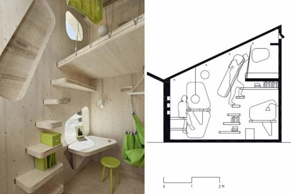 Living Plan Small Wooden House For Students On 10 Square Meters