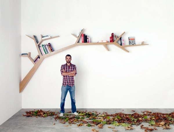 House Library   Shelves Like Trees Wall Shelf Design Adds Life To Your  Modern Home