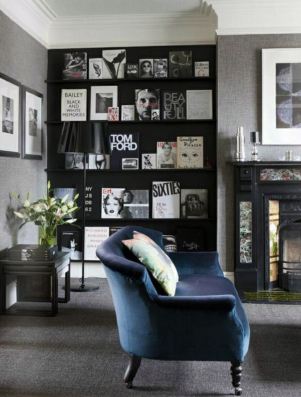 Flair With Elegant Navy Blue Velvet Living Room Colors   22 Decorating  Ideas With Black
