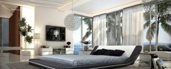 15 unique bedroom ideas in black and white interior for Unique bedroom designs