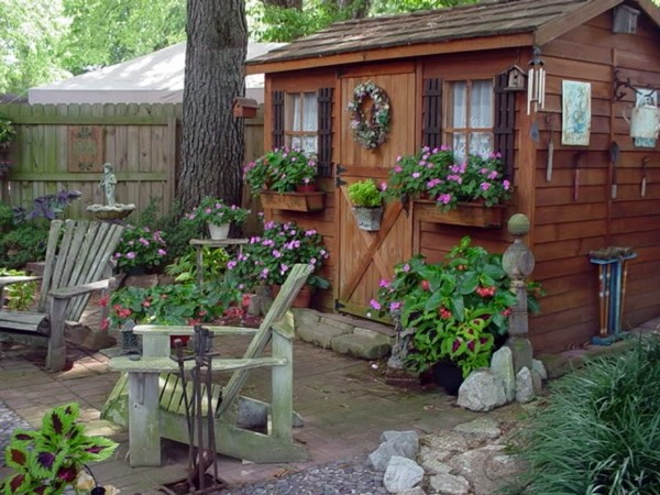 ... Garden Houses Made Of Wood   Nice And Compact Garden Shed In The  Backyard