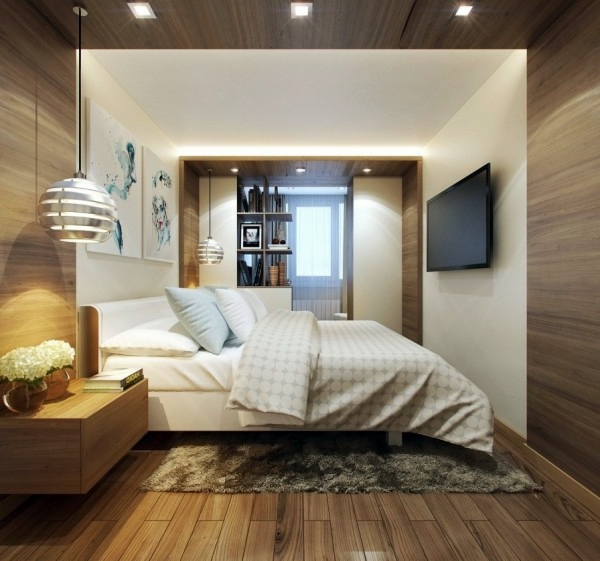 Narrow Room Equipped With Wood Small Bedroom Modern Design   Designer  Solutions