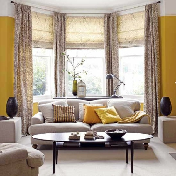 50 modern curtains ideas practical design window for Living room bay window ideas