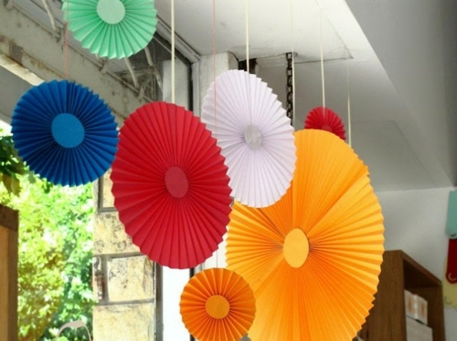 Hanging Colored Circles Origami Easy DIY Party Decoration Made Of Paper