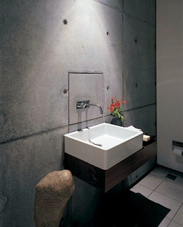 Rough Surfaces In The Bathroom Wall Color With Concrete Look   Walls Made  Of Concrete