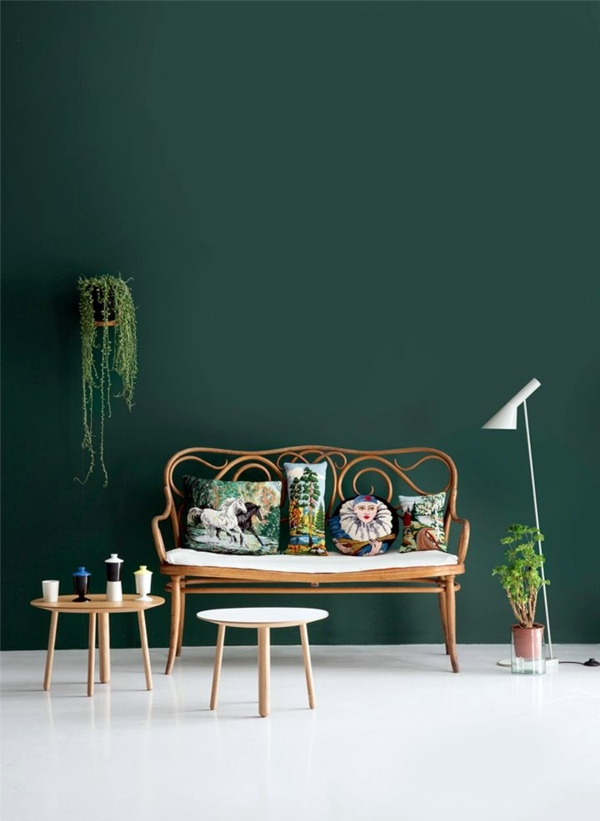 Green wall color can be reached by a trendy decor Green wall color