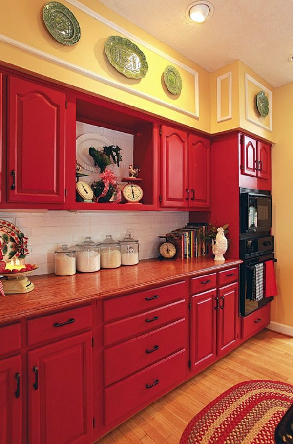 Yellow Walls And Red Cabinets Make The Kitchen Look Fresh Colorful Wall  Color ...