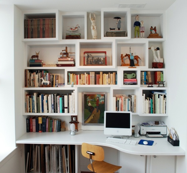 Space Saving Built In Office Furniture In Corners: How To Combine Shelves And Desk Properly