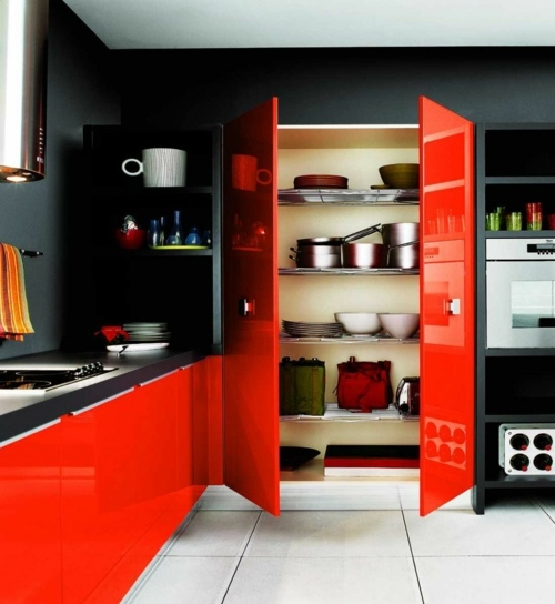 a festival of colors: red color in the kitchen   interior design