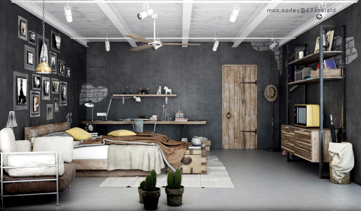 Industrial bedrooms with divine detail interior design for Bedroom ideas industrial
