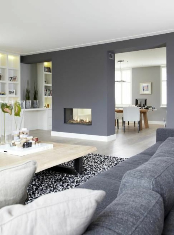 Heat radiate color gray wall and modern fireplace Wall color grays - stay  in tune with