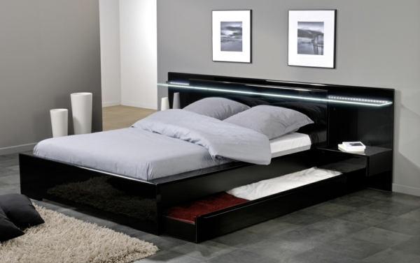 Bed moreover Black Full Size Bed With Storage likewise Platform Bed ...