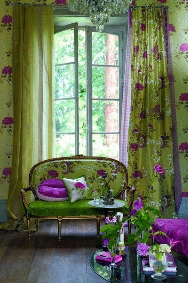 Captivating Floral Pattern Purple 30 Curtains In Green For All Seasons