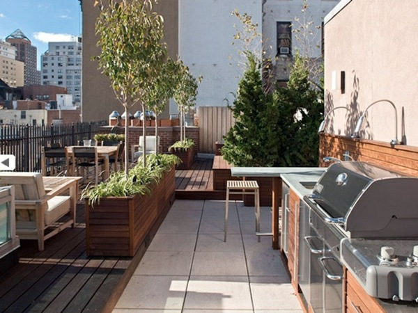 Roof terrace design ideas examples and important aspects - How to build an outdoor kitchen a practical terrace ...