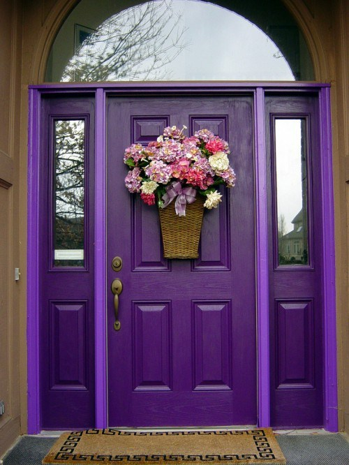 12 Exquisite Front Door Designs In Purple Color Interior