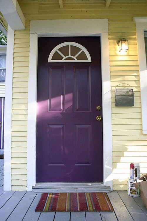 12 exquisite front door designs in purple color interior for Door design and colour