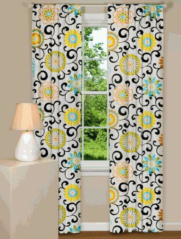 Examples Curtains With Floral Decoration Funny Einrichtungsideen
