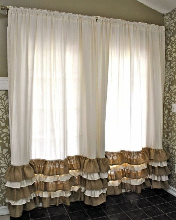 Bicolor and curled down 30 Curtains Decoration Examples - dress up the  windows creative