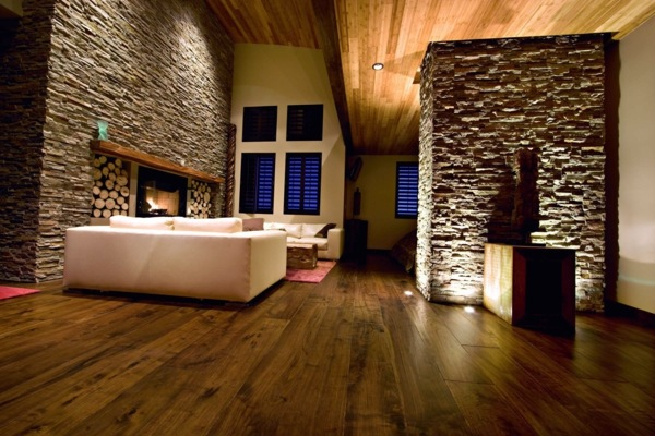 Wandgestaltung   Receive The Natural Home   Natural Stone Wall In The Living  Room