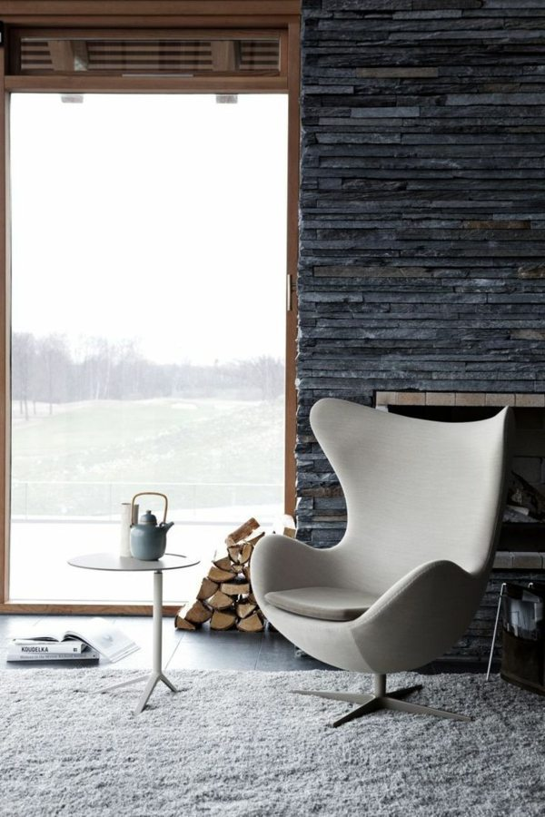 Receive the natural home – natural stone wall in the living room ...