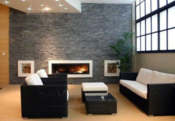 Receive The Natural Home Natural Stone Wall In The Living Room
