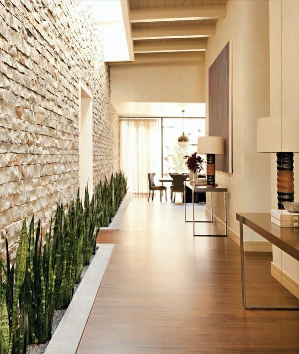 ... Receive The Natural Home   Natural Stone Wall In The Living Room