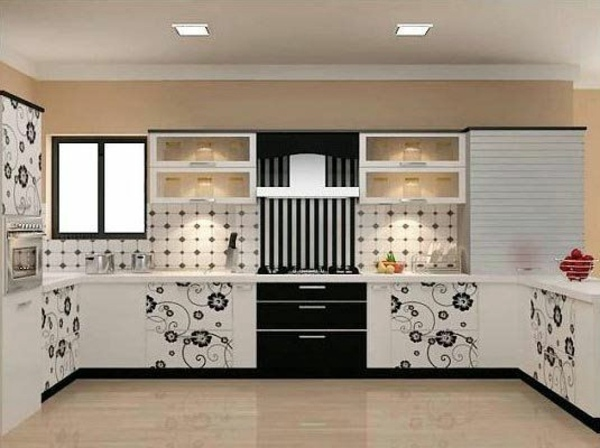 Gentil Black And White Design With Flower Pattern Custom Kitchen Solutions   Modular  Kitchens