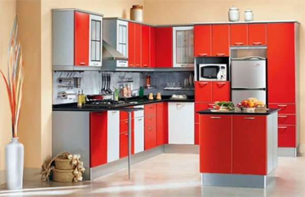 Superbe Cabinet Departments In The Striped Design Custom Kitchen Solutions   Modular  Kitchens Square Pattern In Red And White ...