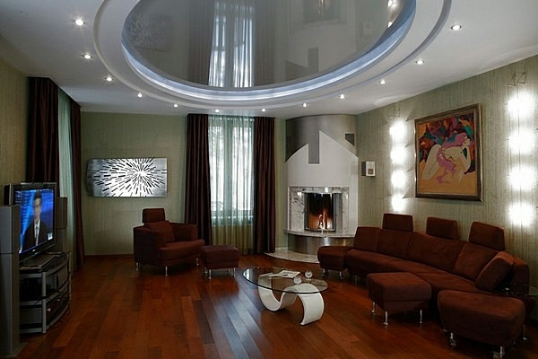 Ceiling design in living room - amazing, suspended ceilings