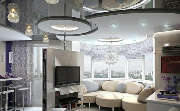 Beautiful, feminine interior Ceiling design in living room - amazing, suspended  ceilings