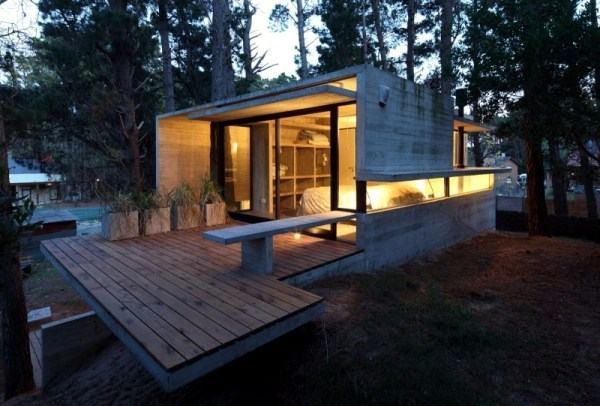 A Modern House Made of glass and wood on the coast Interior