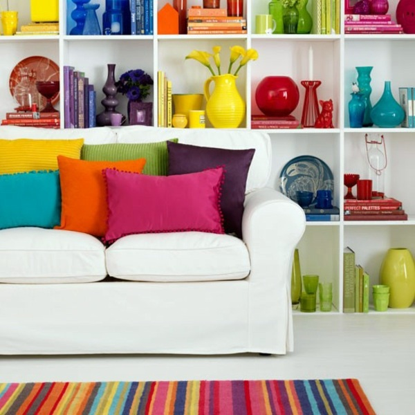 Bright colors in interior design combinedominant and
