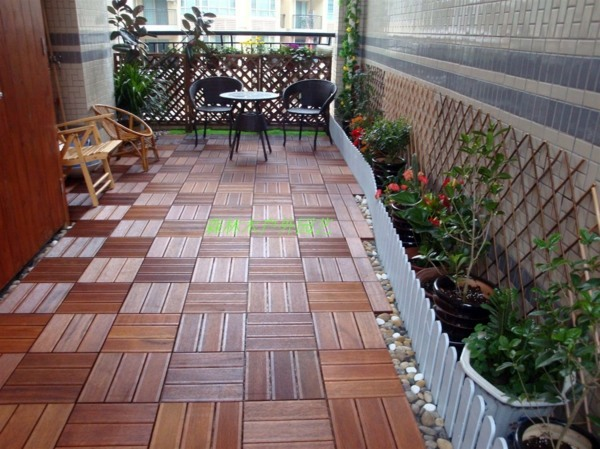 Terrace And Balcony Wood Tiles Ideas And Other Floor Coverings on gray rocking chair