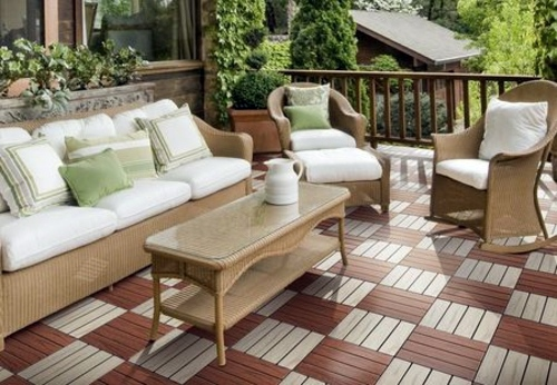 ... patio and balcony with wooden tiles – Use wood tiles for flooring