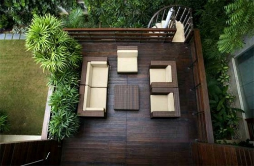 Display Dark Wood Outdoor Viewed From Above Lay Patio And Balcony With  Wooden Tiles   Use Wood Tiles For Flooring